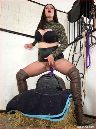 Miss Hybrid - Milf in thigh boots fucks herself mechanical dildo [JPEG 2600x1733]