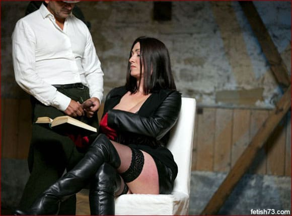 Miss Hybrid - Man masturbating on milf in boots [JPEG 2600x1733]