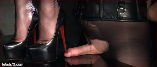 Mistress Nikita - Heel stepping on penis slave [HD 720p]