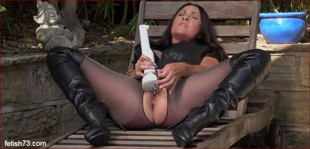 Miss Hybrid - Cum on tits girlfriend wearing leather boots [FULL HD 1080p]