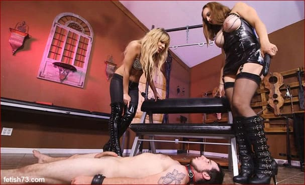 Kelly Paige, Lexi Luna - Electroshock and cumshot on boots - HD 720p