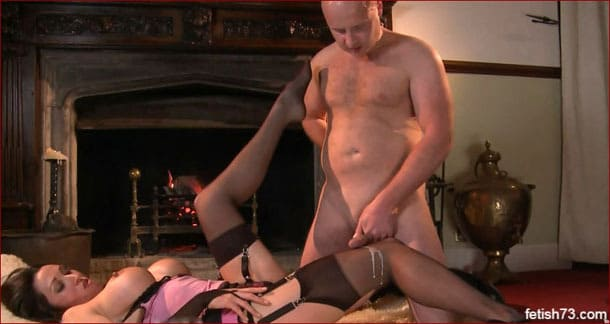 Cumming on nylon feet of his gorgeous lady - FULL HD 1080p