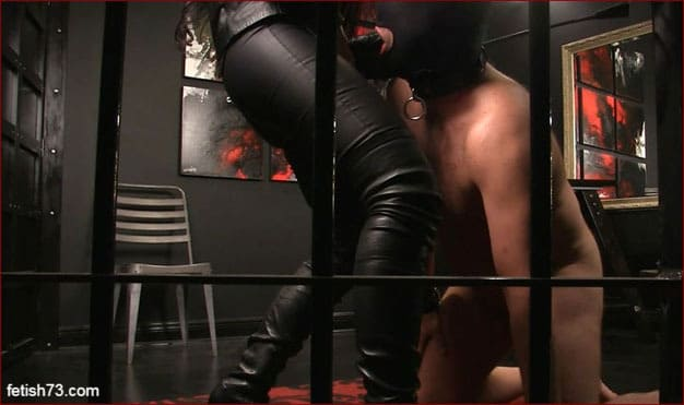 Mistress Nikita - Mature femdom in leather and boots fucks slave thick strapon - FULL HD 1080p