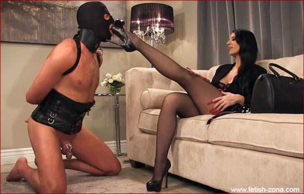 Mistress Nikita - Lady with slender legs dominates and humiliates slave - FULL HD 1080p