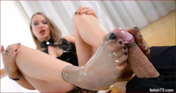Feet Lady Nicole - Sexy footjob in latex socks - FULL HD 1080p